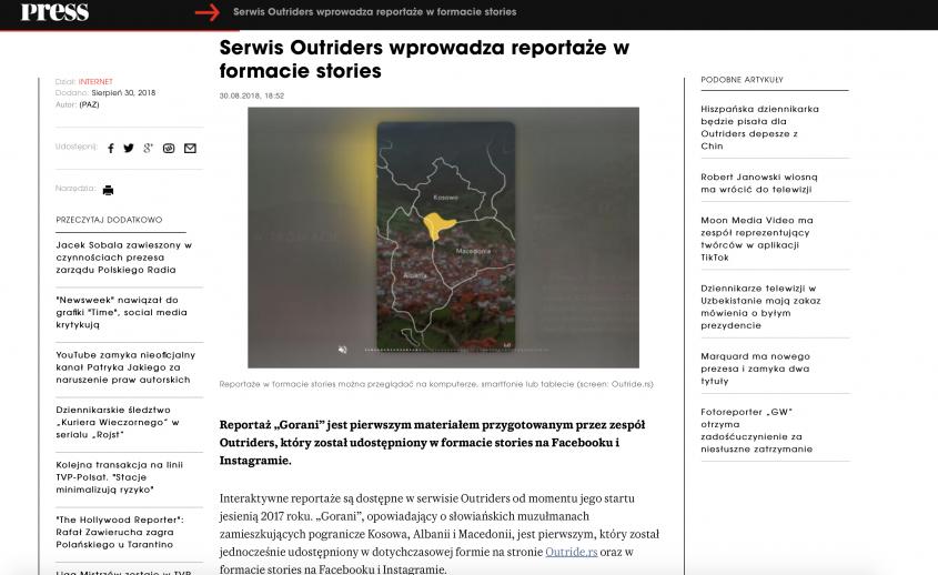 Serwis Outriders wprowadza reportaże w formacie stories